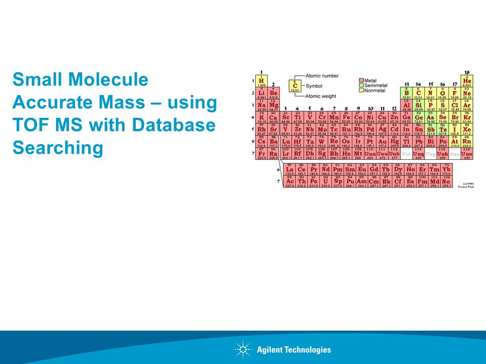 Small Molecule Accurate Mass – using TOF MS with Database Searching