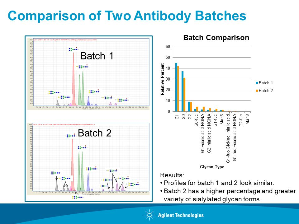 Comparison of Two Antibody Batches Batch 1 Batch 2 Results: Profiles for batch 1 and 2 look similar.