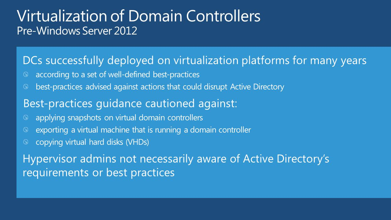 Active Directory Virtualization Safeguards and Domain