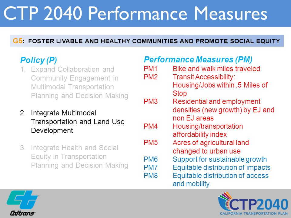CTP 2040 Performance Measures G5 : FOSTER LIVABLE AND HEALTHY COMMUNITIES AND PROMOTE SOCIAL EQUITY Policy (P) 1.Expand Collaboration and Community Engagement in Multimodal Transportation Planning and Decision Making 2.Integrate Multimodal Transportation and Land Use Development 3.Integrate Health and Social Equity in Transportation Planning and Decision Making Performance Measures (PM) PM1 Bike and walk miles traveled PM2Transit Accessibility: Housing/Jobs within.5 Miles of Stop PM3Residential and employment densities (new growth) by EJ and non EJ areas PM4Housing/transportation affordability index PM5Acres of agricultural land changed to urban use PM6Support for sustainable growth PM7Equitable distribution of impacts PM8Equitable distribution of access and mobility