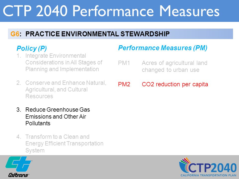 CTP 2040 Performance Measures G6: PRACTICE ENVIRONMENTAL STEWARDSHIP Policy (P) 1.Integrate Environmental Considerations in All Stages of Planning and Implementation 2.Conserve and Enhance Natural, Agricultural, and Cultural Resources 3.Reduce Greenhouse Gas Emissions and Other Air Pollutants 4.Transform to a Clean and Energy Efficient Transportation System Performance Measures (PM) PM1 Acres of agricultural land changed to urban use PM2CO2 reduction per capita