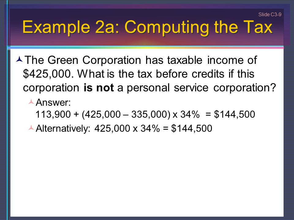 Slide C3-9 Example 2a: Computing the Tax The Green Corporation has taxable income of $425,000.