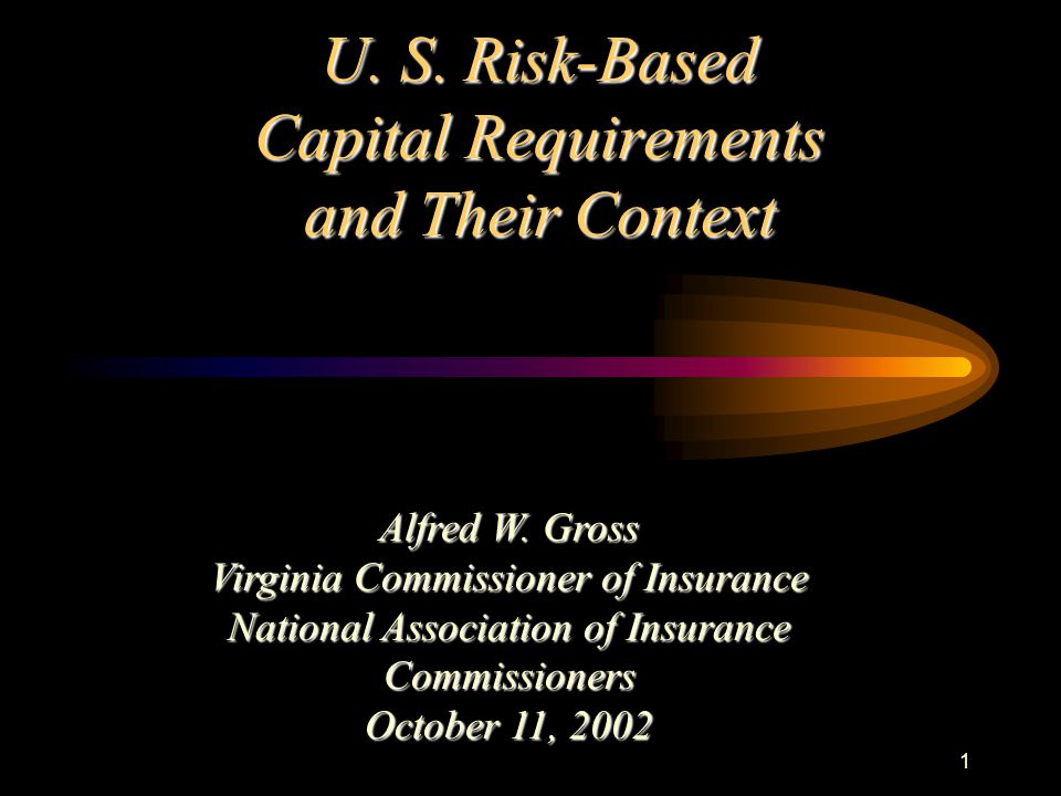 1 U. S. Risk-Based Capital Requirements and Their Context Alfred W.
