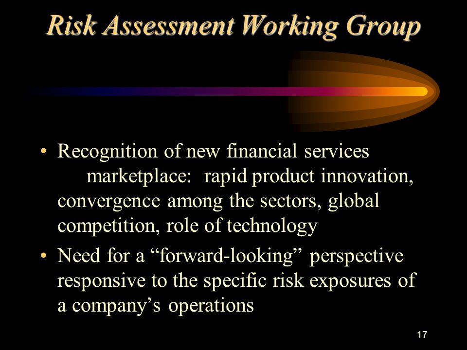 17 Risk Assessment Working Group Recognition of new financial services marketplace: rapid product innovation, convergence among the sectors, global competition, role of technology Need for a forward-looking perspective responsive to the specific risk exposures of a company's operations