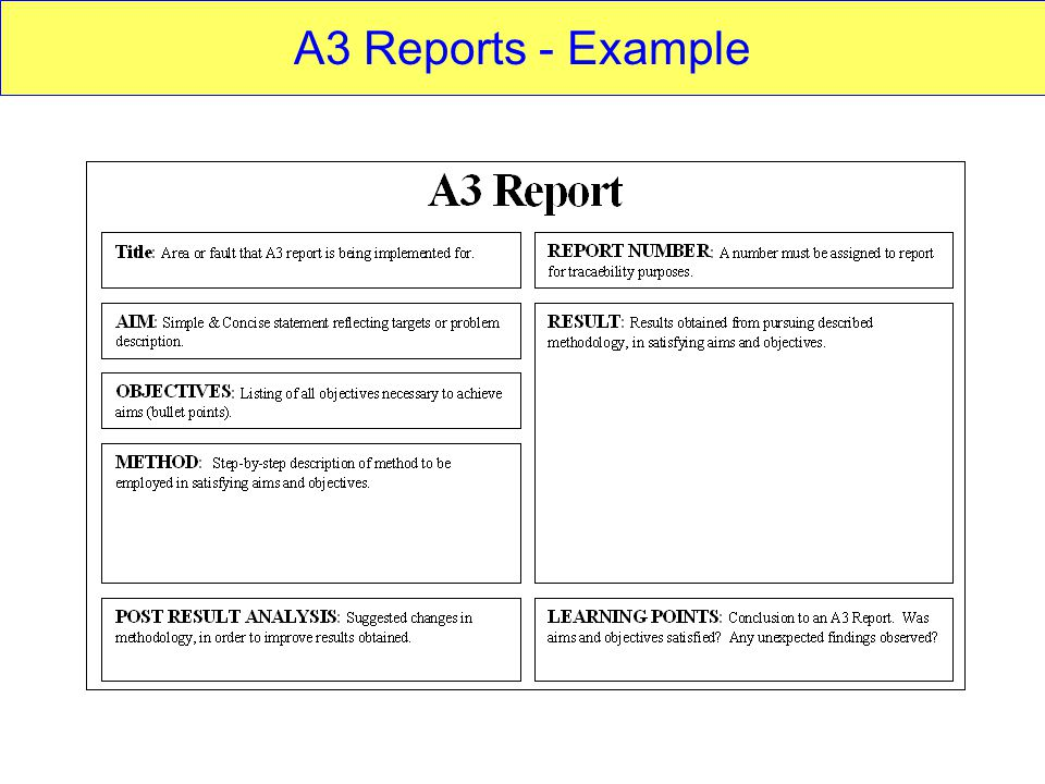 A3 Reports Aims Objectives Target Audience Anyone Who Has To