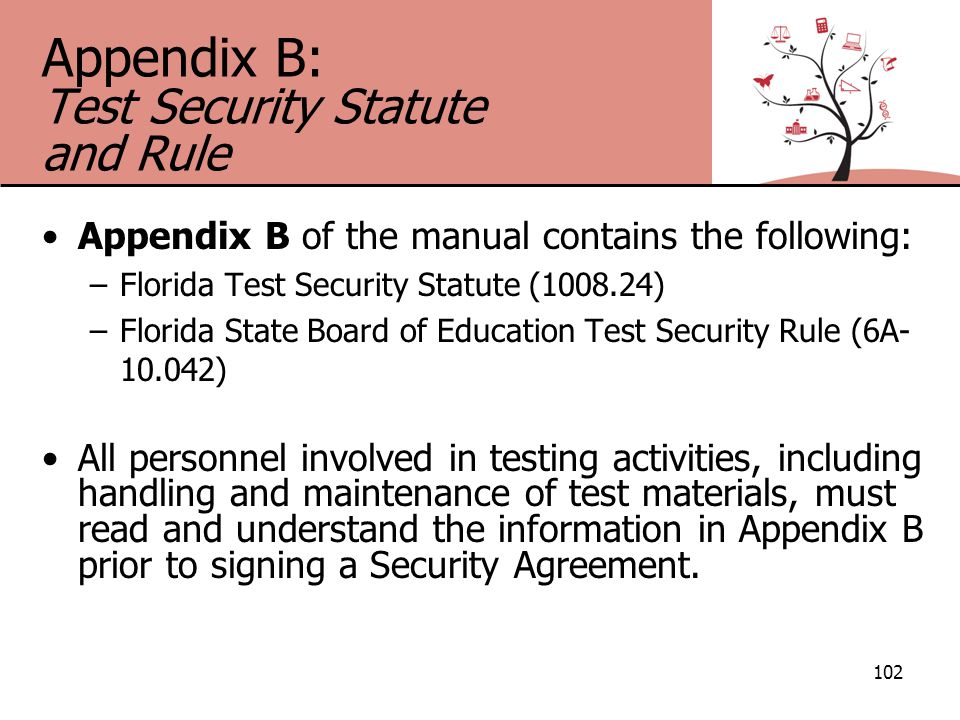 Appendix B: Test Security Statute and Rule Appendix B of the manual contains the following: –Florida Test Security Statute (1008.24) –Florida State Board of Education Test Security Rule (6A- 10.042) All personnel involved in testing activities, including handling and maintenance of test materials, must read and understand the information in Appendix B prior to signing a Security Agreement.