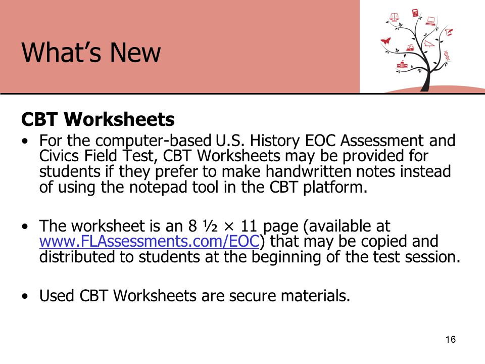 What's New CBT Worksheets For the computer-based U.S.