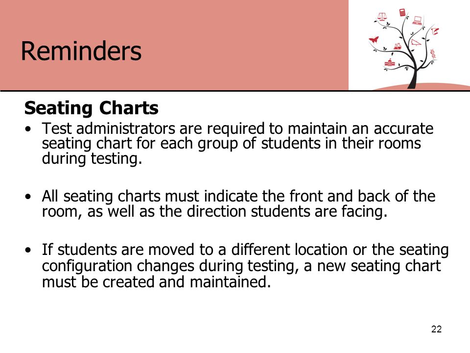 Reminders Seating Charts Test administrators are required to maintain an accurate seating chart for each group of students in their rooms during testing.