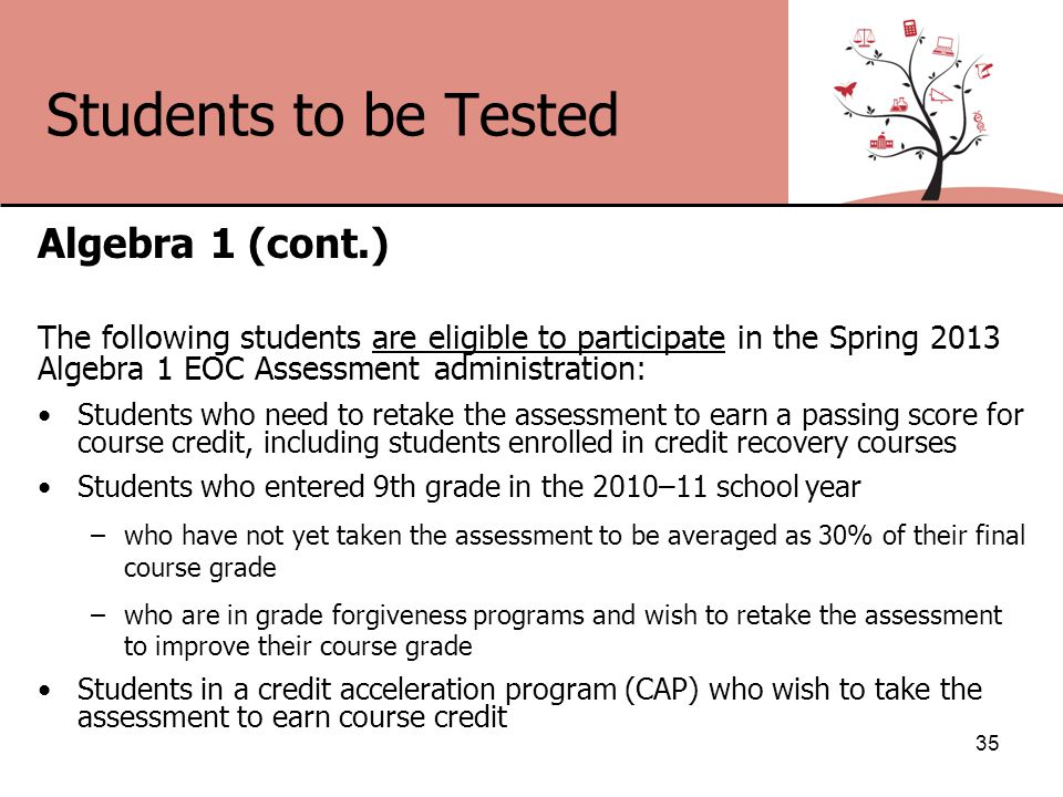 Students to be Tested Algebra 1 (cont.) The following students are eligible to participate in the Spring 2013 Algebra 1 EOC Assessment administration: Students who need to retake the assessment to earn a passing score for course credit, including students enrolled in credit recovery courses Students who entered 9th grade in the 2010–11 school year –who have not yet taken the assessment to be averaged as 30% of their final course grade –who are in grade forgiveness programs and wish to retake the assessment to improve their course grade Students in a credit acceleration program (CAP) who wish to take the assessment to earn course credit 35