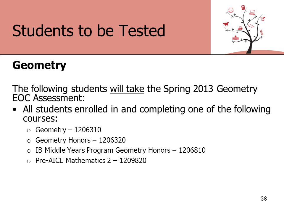 Students to be Tested Geometry The following students will take the Spring 2013 Geometry EOC Assessment: All students enrolled in and completing one of the following courses: o Geometry – 1206310 o Geometry Honors – 1206320 o IB Middle Years Program Geometry Honors – 1206810 o Pre-AICE Mathematics 2 – 1209820 38