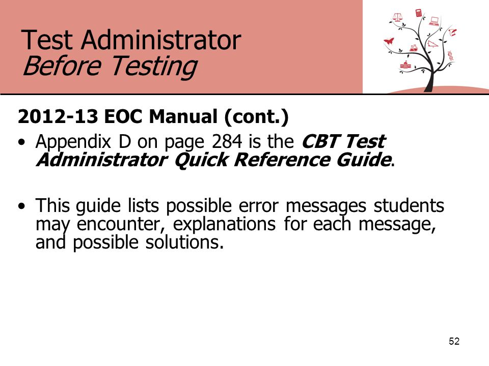 Test Administrator Before Testing 2012-13 EOC Manual (cont.) Appendix D on page 284 is the CBT Test Administrator Quick Reference Guide.