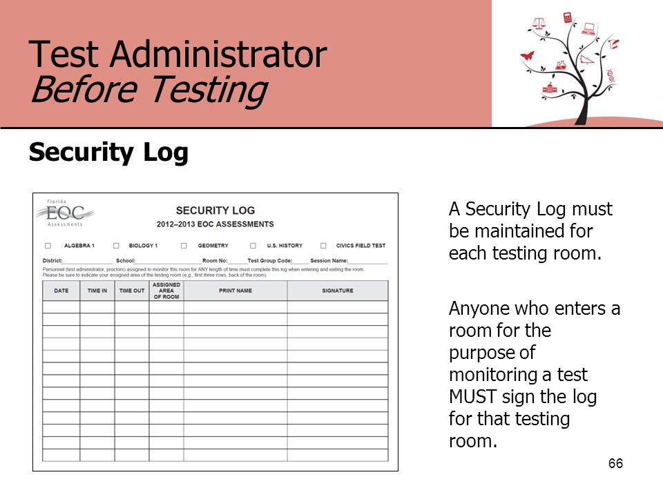 Test Administrator Before Testing Security Log 66 A Security Log must be maintained for each testing room.