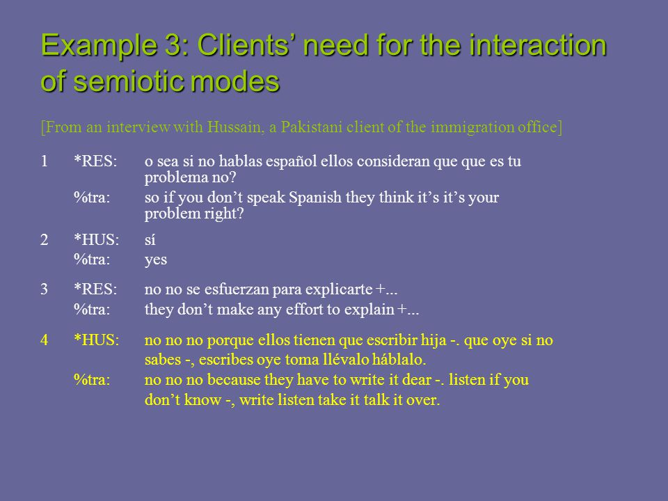 Example 3: Clients' need for the interaction of semiotic modes [From an interview with Hussain, a Pakistani client of the immigration office] 1*RES: o sea si no hablas español ellos consideran que que es tu problema no.