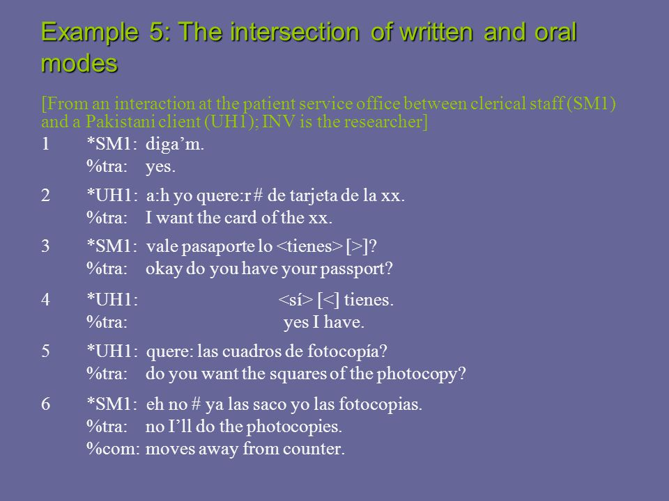 Example 5: The intersection of written and oral modes [From an interaction at the patient service office between clerical staff (SM1) and a Pakistani client (UH1); INV is the researcher] 1 *SM1:diga'm.