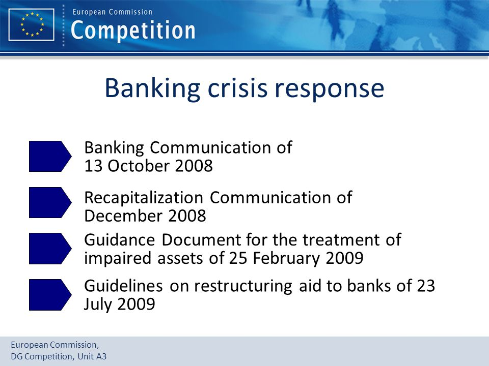European Commission, DG Competition, Unit A3 Banking crisis response Banking Communication of 13 October 2008 Recapitalization Communication of December 2008 Guidance Document for the treatment of impaired assets of 25 February 2009 Guidelines on restructuring aid to banks of 23 July 2009