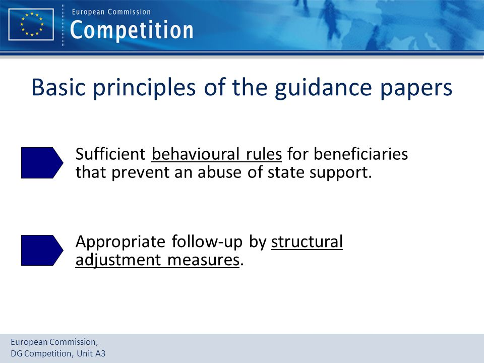 European Commission, DG Competition, Unit A3 Basic principles of the guidance papers Sufficient behavioural rules for beneficiaries that prevent an abuse of state support.