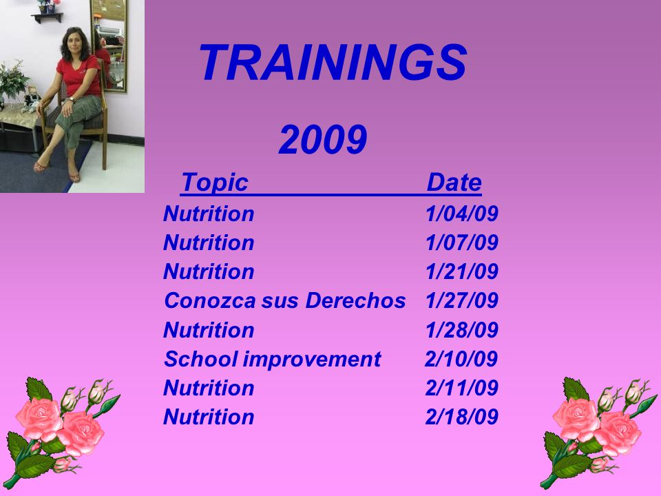 TRAININGS 2008 Topic Date Cervix Cancer 9/17/08 Six Pillars 9/19/08 Six Pillars 9/26/08 Cancer del Seno 9/24/08 Six Pillars 10/01/08 Six Pillars 10/03/08 Conozca sus Derechos 10/08/08 Conozca sus Derechos 10/22/08 Six Pillars 10/24/08 Conozca sus Derechos 11/09/08 Conozca sus Derechos 11/12/08
