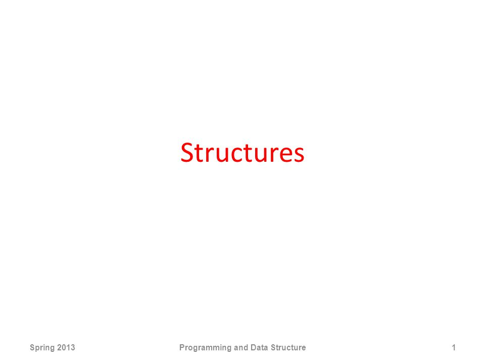 Structures Spring 2013Programming and Data Structure1