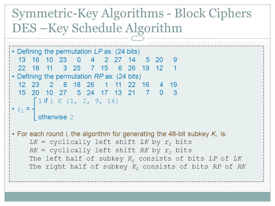 Symmetric-Key Algorithms - Block Ciphers DES –Key Schedule Algorithm Defining the permutation LP as: (24 bits) Defining the permutation RP as: (24 bits) if i Є {1, 2, 9, 16} r i = otherwise 2 For each round i, the algorithm for generating the 48-bit subkey K i is: LK = cyclically left shift LK by r i bits RK = cyclically left shift RK by r i bits The left half of subkey K i consists of bits LP of LK The right half of subkey K i consists of bits RP of RK