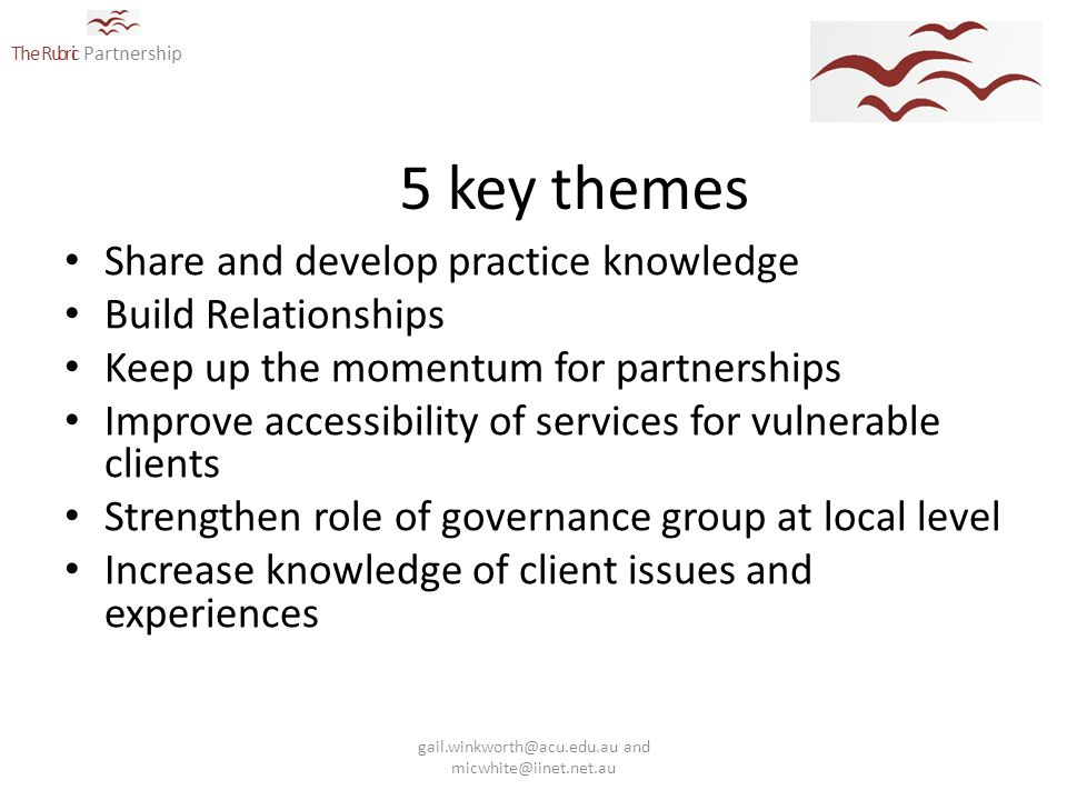 The Rubric Partnership 5 key themes Share and develop practice knowledge Build Relationships Keep up the momentum for partnerships Improve accessibility of services for vulnerable clients Strengthen role of governance group at local level Increase knowledge of client issues and experiences gail.winkworth@acu.edu.au and micwhite@iinet.net.au