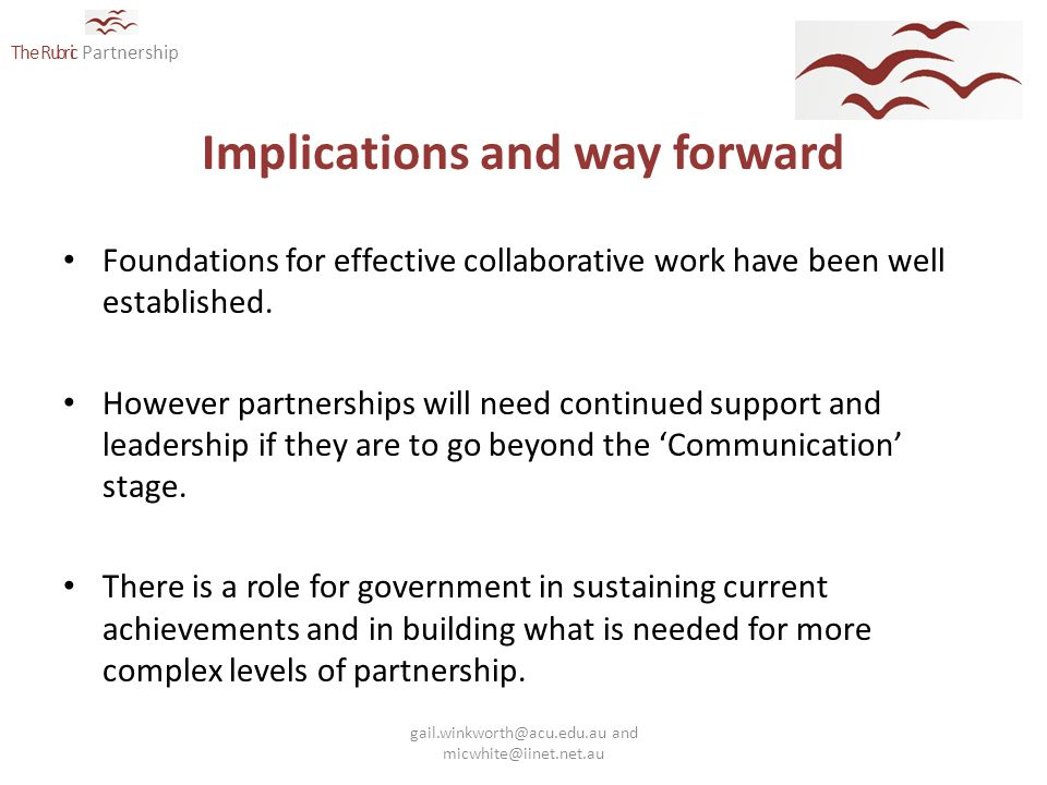 The Rubric Partnership Implications and way forward Foundations for effective collaborative work have been well established.