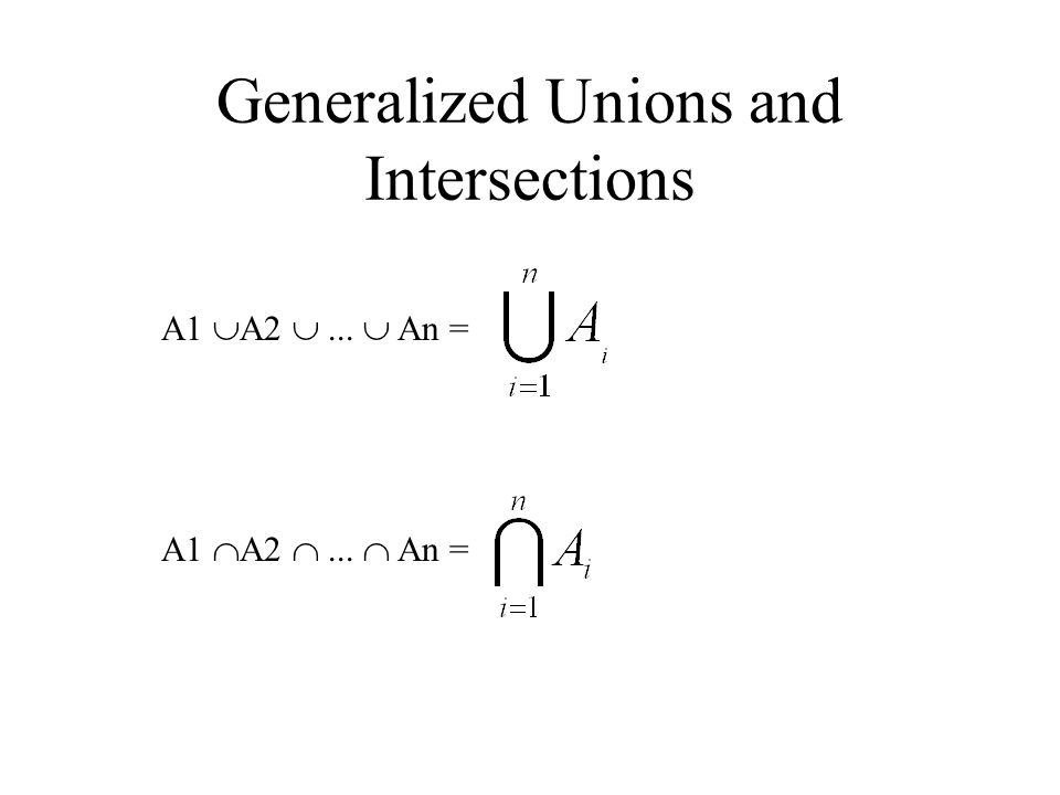 Generalized Unions and Intersections A1  A2 ...  An = A1  A2 ...  An =