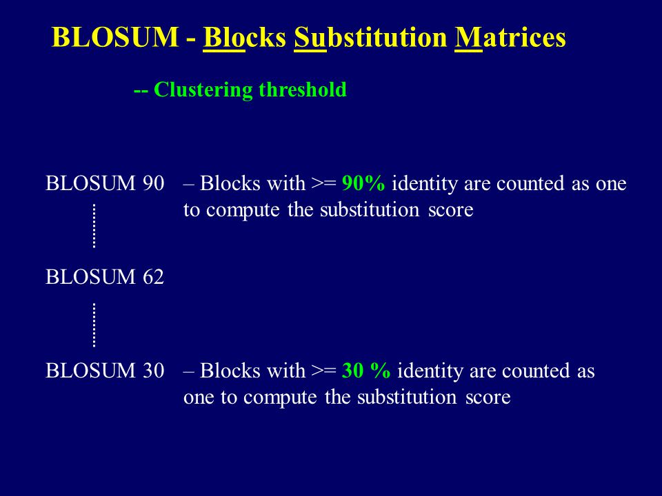 BLOSUM - Blocks Substitution Matrices -- Clustering threshold BLOSUM 90– Blocks with >= 90% identity are counted as one to compute the substitution score BLOSUM 30– Blocks with >= 30 % identity are counted as one to compute the substitution score BLOSUM 62