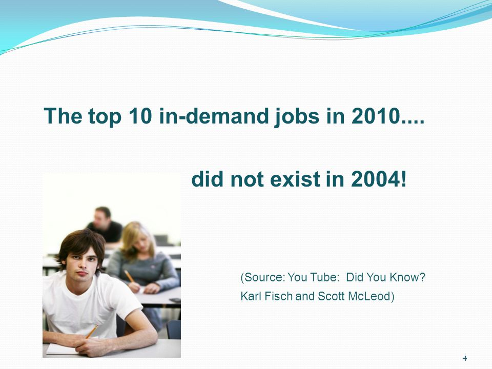 The top 10 in-demand jobs in 2010.... did not exist in 2004.