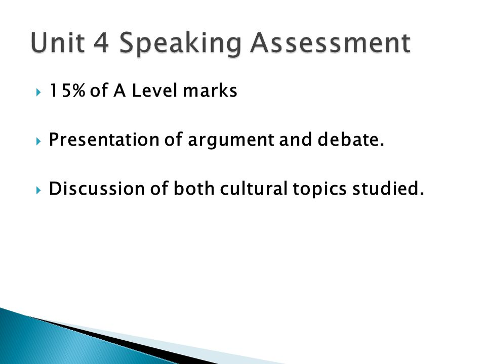  15% of A Level marks  Presentation of argument and debate.
