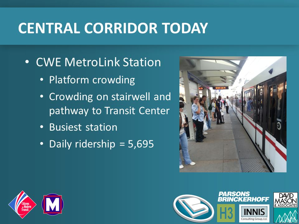 CENTRAL CORRIDOR TODAY CWE MetroLink Station Platform crowding Crowding on stairwell and pathway to Transit Center Busiest station Daily ridership = 5,695