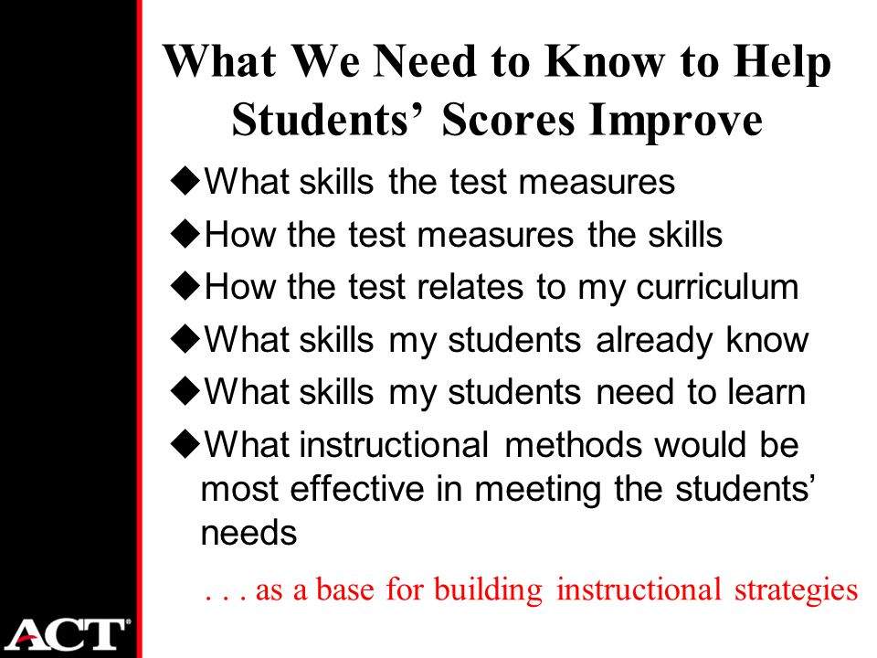 What We Need to Know to Help Students' Scores Improve uWhat skills the test measures uHow the test measures the skills uHow the test relates to my curriculum uWhat skills my students already know uWhat skills my students need to learn uWhat instructional methods would be most effective in meeting the students' needs...