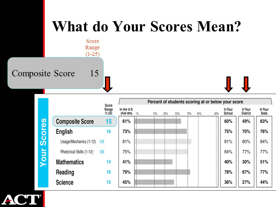 What do Your Scores Mean Composite Score15 Score Range (1-25)