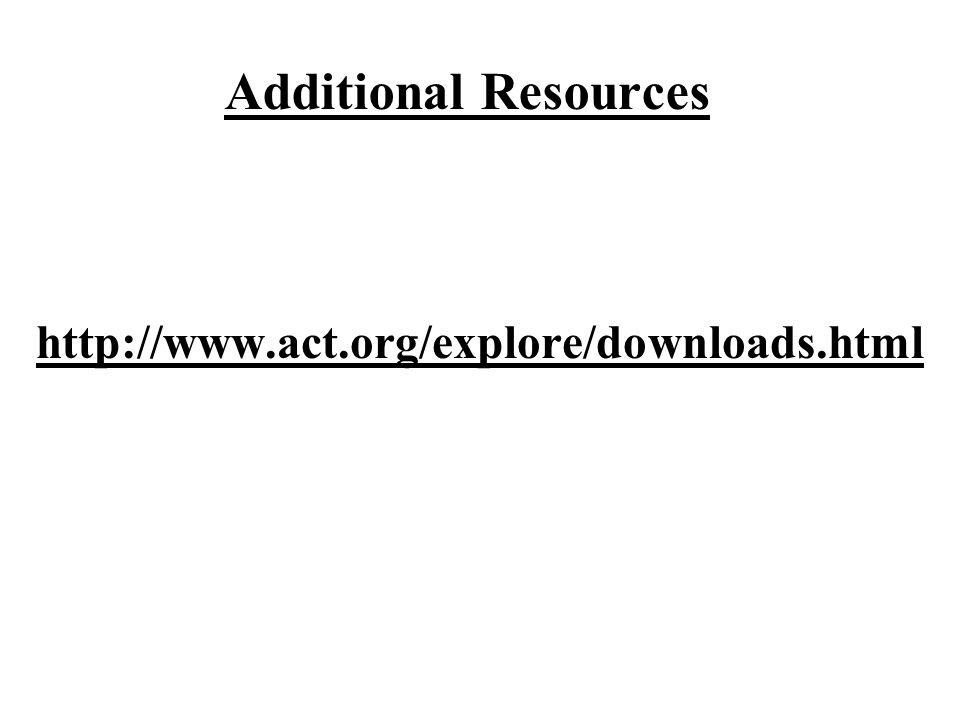 Additional Resources http://www.act.org/explore/downloads.html