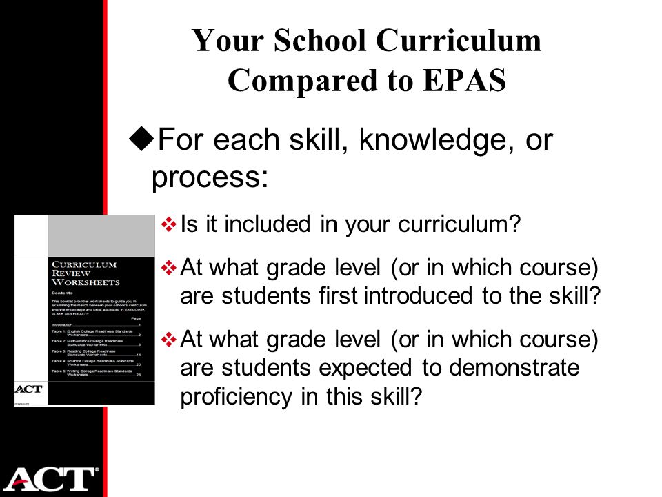 Your School Curriculum Compared to EPAS uFor each skill, knowledge, or process:  Is it included in your curriculum.