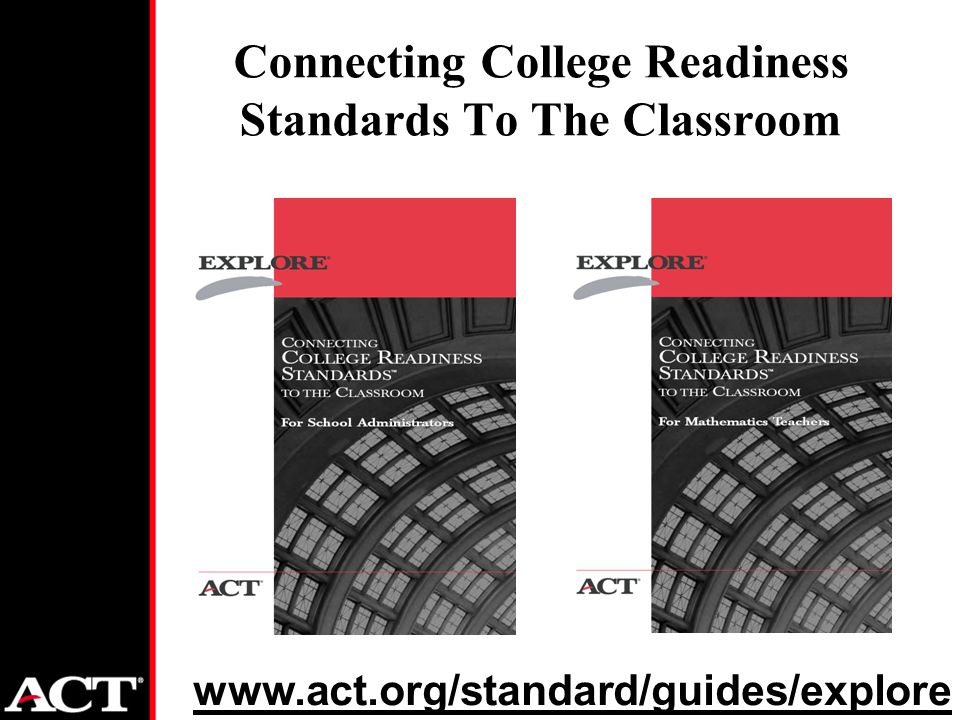Connecting College Readiness Standards To The Classroom www.act.org/standard/guides/explore