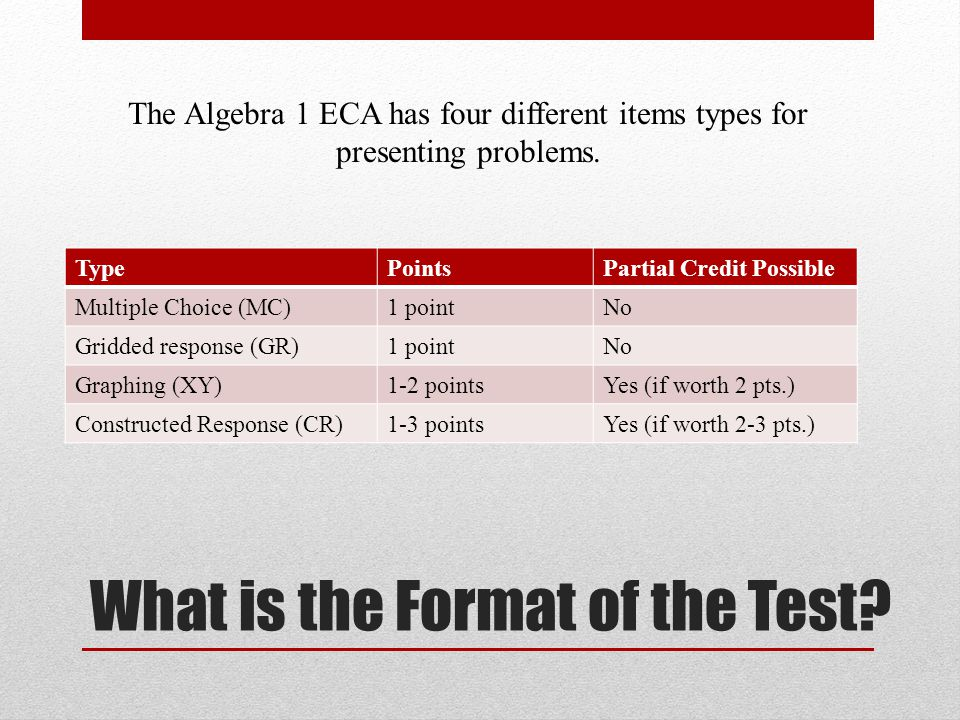 What is the Format of the Test.