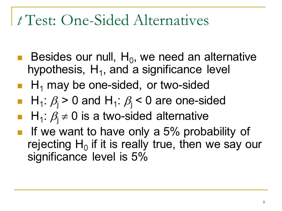 9 t Test: One-Sided Alternatives Besides our null, H 0, we need an alternative hypothesis, H 1, and a significance level H 1 may be one-sided, or two-sided H 1 :  j > 0 and H 1 :  j < 0 are one-sided H 1 :  j  0 is a two-sided alternative If we want to have only a 5% probability of rejecting H 0 if it is really true, then we say our significance level is 5%