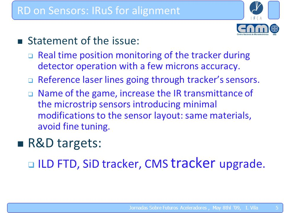 5 RD on Sensors: IRuS for alignment Statement of the issue:  Real time position monitoring of the tracker during detector operation with a few microns accuracy.