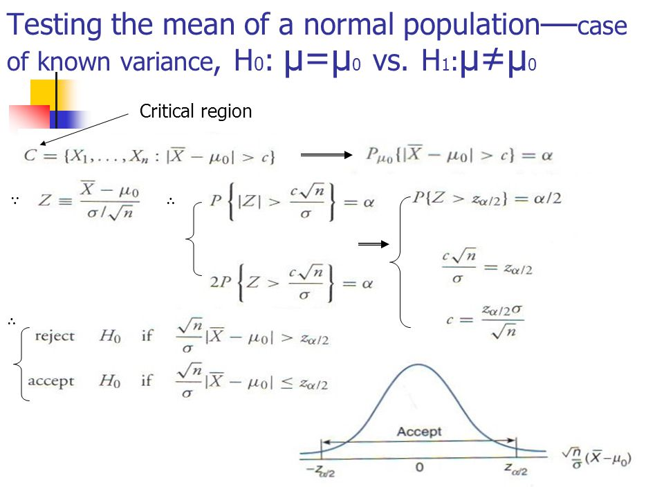Testing the mean of a normal population — case of known variance, H 0 : μ=μ 0 vs.