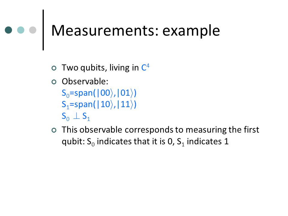Measurements: example Two qubits, living in C 4 Observable: S 0 =span(|00 i,|01 i ) S 1 =span(|10 i,|11 i ) S 0 .