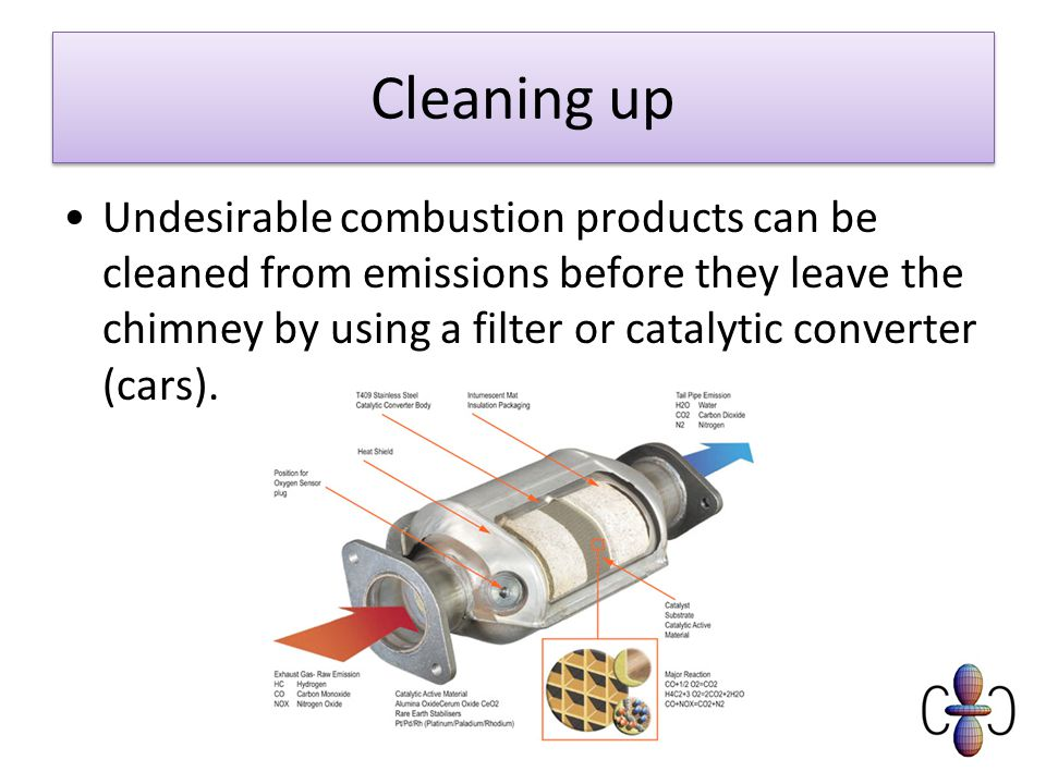 Cleaning up Undesirable combustion products can be cleaned from emissions before they leave the chimney by using a filter or catalytic converter (cars).
