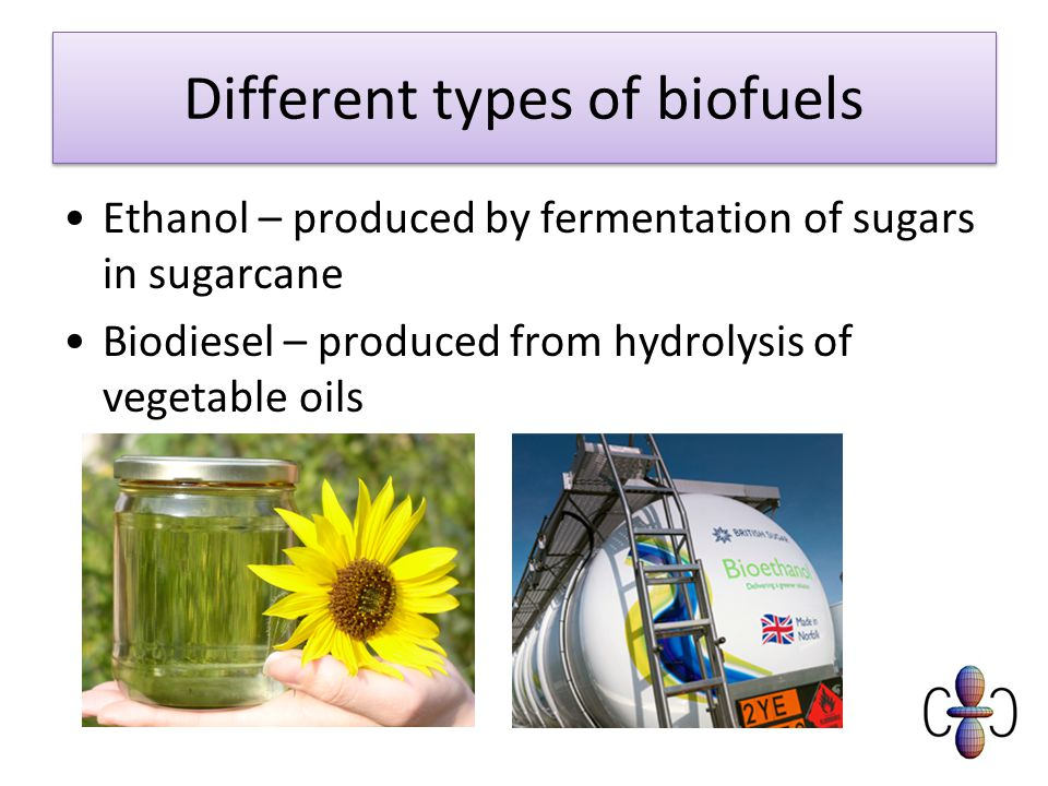 Different types of biofuels Ethanol – produced by fermentation of sugars in sugarcane Biodiesel – produced from hydrolysis of vegetable oils