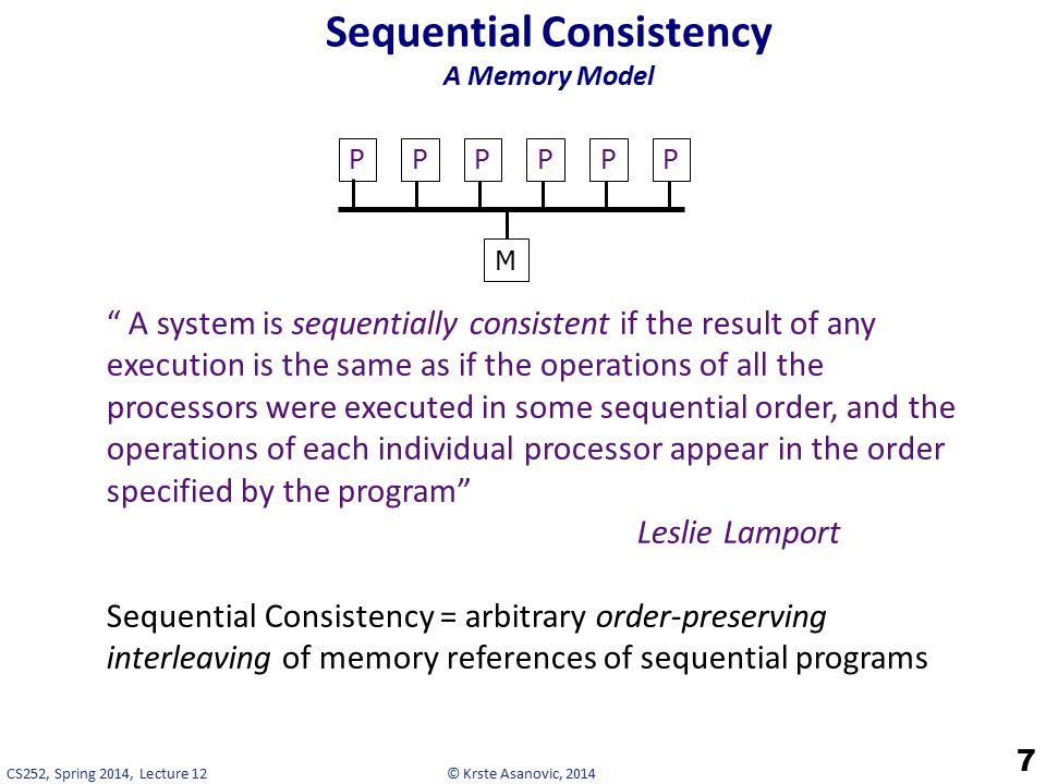© Krste Asanovic, 2014CS252, Spring 2014, Lecture 12 Sequential Consistency A Memory Model 7 A system is sequentially consistent if the result of any execution is the same as if the operations of all the processors were executed in some sequential order, and the operations of each individual processor appear in the order specified by the program Leslie Lamport Sequential Consistency = arbitrary order-preserving interleaving of memory references of sequential programs M PPPPPP