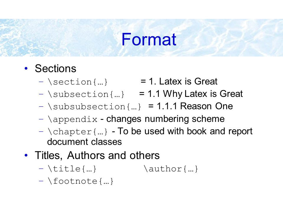 Lecture 8 Introduction to Latex  Introduction TeX is
