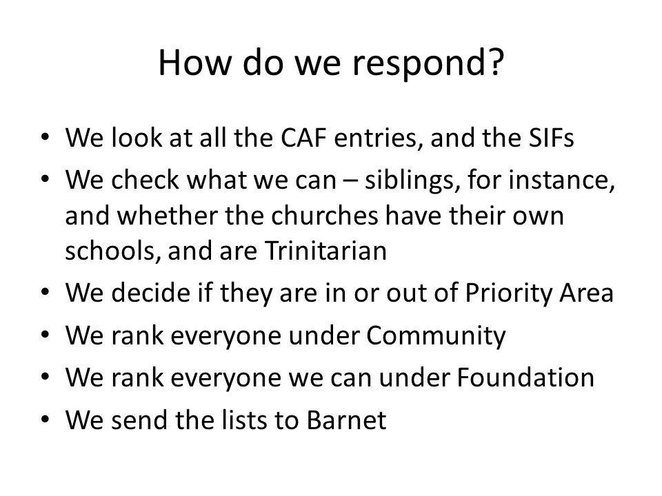 How do we respond.