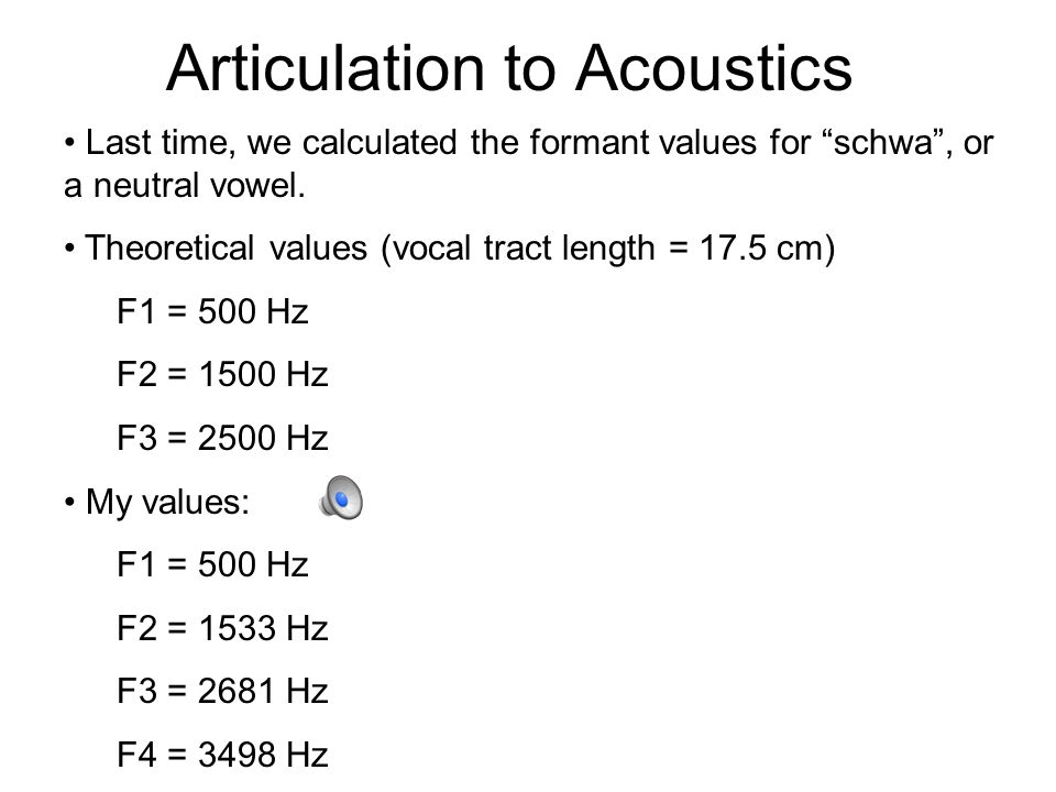Back to Vowels A vowel space is defined by a speaker's range of first formant (F1) and second formant (F2) frequencies.