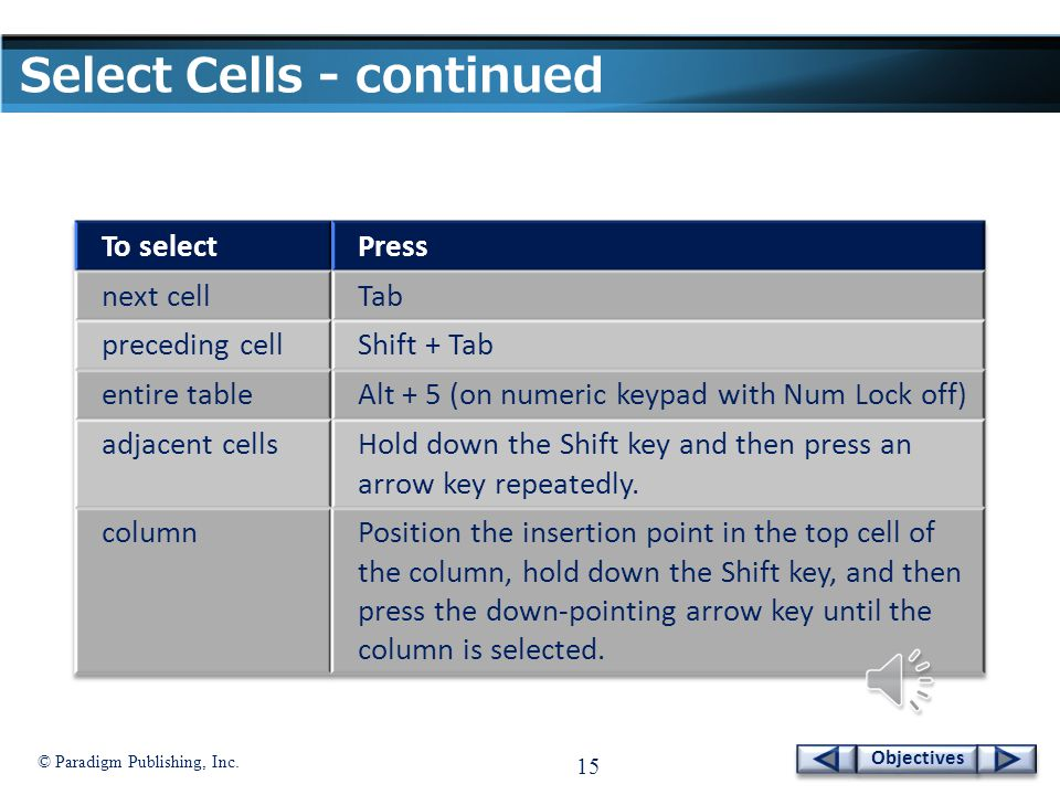 © Paradigm Publishing, Inc. 14 Objectives Select Cells - continued