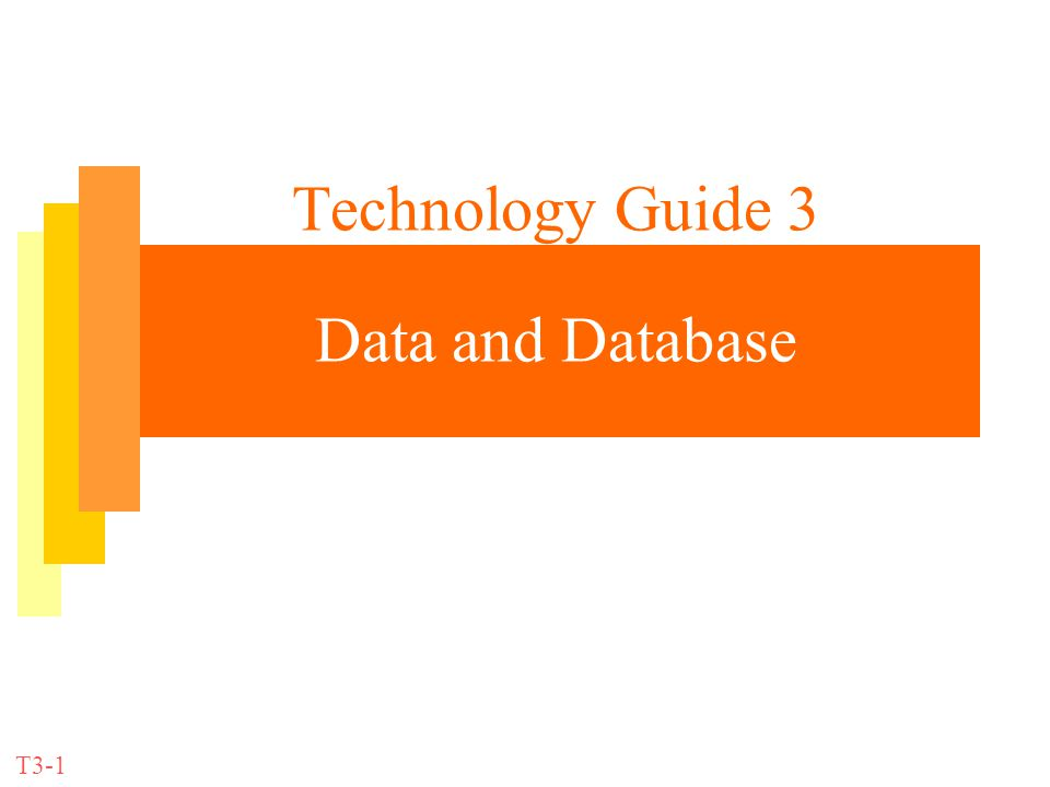 Technology Guide 3 Data and Database T3-1