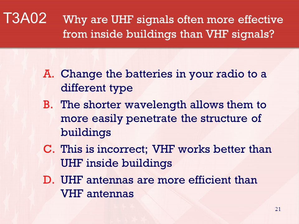 21 T3A02 Why are UHF signals often more effective from inside buildings than VHF signals.