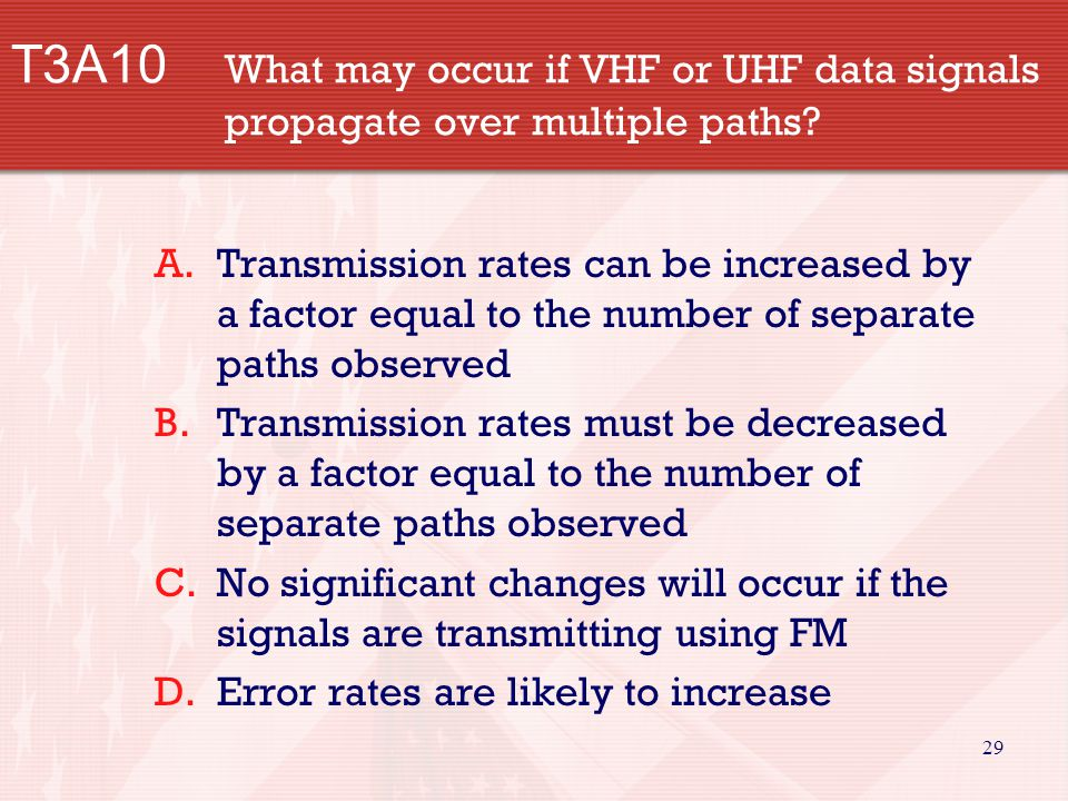 29 T3A10 What may occur if VHF or UHF data signals propagate over multiple paths.